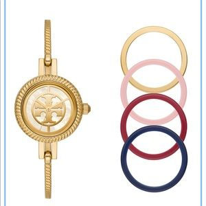27mm Reva Bangle Watch Gift Set w/ Top Rings, Gold